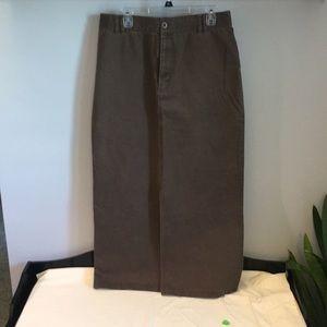 Brown front slit skirt